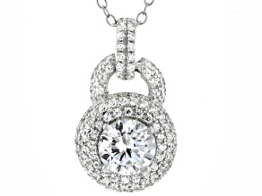 White Cubic Zirconia Platinum Over Silver Pendant With Chain (1.55ctw DEW)