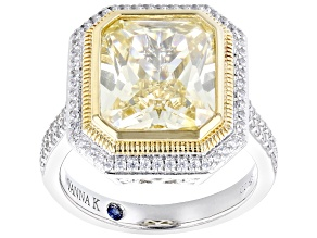 Yellow And White Cubic Zirconia Platineve Ring 10.62ctw