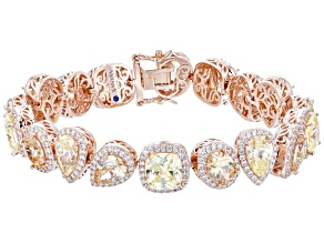 Champagne And Yellow Cubic Zirconia 18k Rose Gold Over Sterling Silver Bracelet 47.76ctw