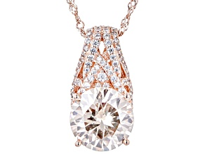 Champagne And White Cubic Zirconia 18k Rose Gold Over Sterling Silver Pendant With Chain 11.53ctw