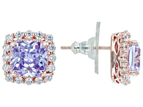 Lavender And White Cubic Zirconia 18k Rose Gold Over Sterling Silver Earrings 8.46ctw