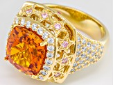 Lab Created Orange Sapphire And Pink And White Cubic Zirconia 18k Gold Over Silver Ring 6.81ctw