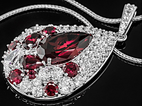 Red And White Cubic Zirconia Platineve Pendant With Chain 11.76ctw