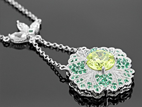 Green And White Cubic Zirconia Platineve Necklace 5.78ctw