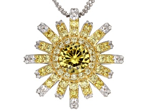 Yellow And White Cubic Zirconia Platineve Pendant With Chain 9.60ctw