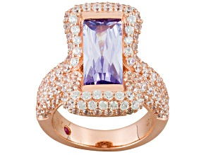 Purple And White Cubic Zirconia 18k Rose Gold Over Sterling Silver Ring 8.49ctw