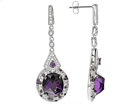 Purple And White Cubic Zirconia Platineve Earrings 17.75ctw