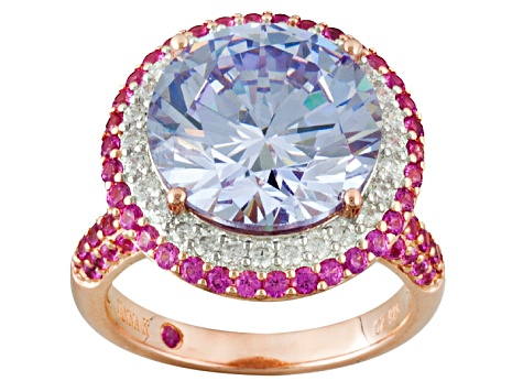 92f50f059 Purple, Pink, And White Cubic Zirconia 18k Rose Gold Over Sterling Ring  14.98ctw