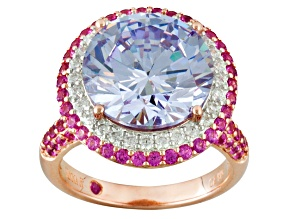 Purple, Pink, And White Cubic Zirconia 18k Rose Gold Over Sterling Ring 14.98ctw