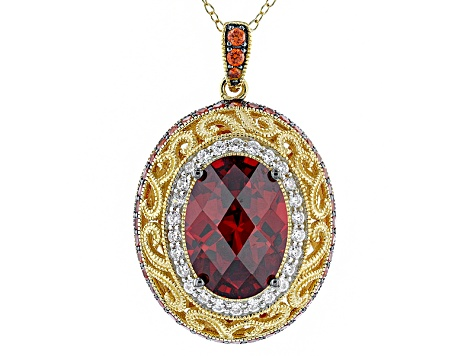 Orange/White Cubic Zirconia 18k Yellow Gold Over Silver/Platineve Pendant W/ Ch 10.91ctw