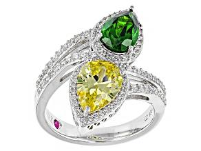 Green/Yellow/White Cubic Zirconia Platineve Ring 6.07ctw