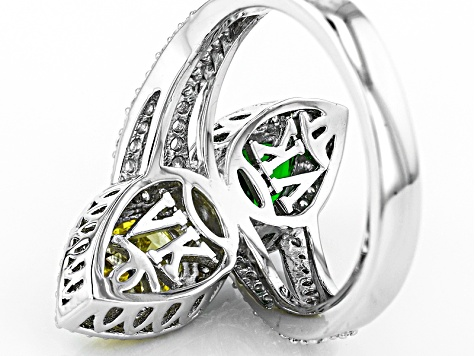 Green/Yellow/White Cubic Zirconia Platineve Ring 6.07ctw