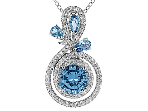 Lab Blue Spinel And White Cubic Zirconia Platineve Pendant With Chain 3.11ctw