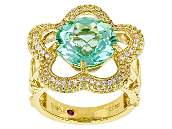 Picture of Lab Blue Spinel,White/Yellow Cubic Zirconia 18k Yellow Gold Over Silver Ring 7.09ctw