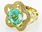 Lab Blue Spinel,White/Yellow Cubic Zirconia 18k Yellow Gold Over Silver Ring 7.09ctw