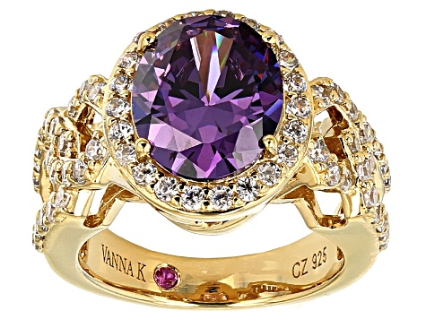 Purple And White Cubic Zirconia 18k Yellow Gold Over Sterling Silver Ring 7.22ctw