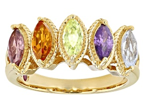 Synthetic Corundum And Spinel And Cubic Zirconia 18k Yellow Gold Over Sterling Ring 1.52ctw