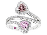 Synthetic Pink Sapphire And Pink/White Cubic Zirconia Platineve Ring 2.35ctw