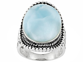 Natural Oval Cabochon Blue Larimar .925 Sterling Silver Ring