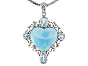 Womens 2.35ctw Blue Larimar Blue Topaz Sterling Silver Popcorn Link Necklace