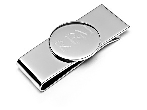Silver Plated Money Clip Link W/ Bullet Back Closure
