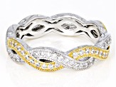White Cubic Zirconia Platineve & 18k Yellow Gold Over Sterling Silver Ring 1.26CTW