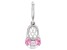Pink Cubic Zirconia Platineve Over Sterling Silver  Baby Girl Boot Charm 0.53ctw