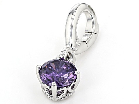Purple Cubic Zirconia Platineve Over Sterling Silver February Birthstone Charm 0.90ctw