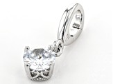 White Cubic Zirconia Platineve Over Sterling Silver April Birthstone Charm 0.90ctw