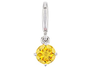Yellow Cubic Zirconia Platineve Over Sterling Silver November Birthstone Charm 0.90ctw