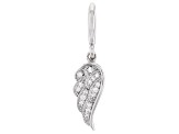 White Cubic Zirconia Platineve Over Sterling Silver Angel Wing Charm 0.22ctw