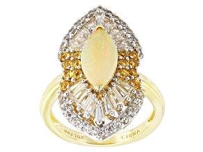 Ethiopian Opal 10k Yellow Gold Ring 3.76ctw