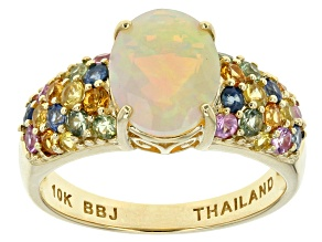 Ethiopian Opal 10k Yellow Gold Ring 2.52ctw