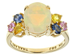 Ethiopian Opal 10k Yellow Gold Ring 2.64ctw