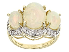 Ethiopian Opal 10k Yellow Gold Ring 3.77ctw