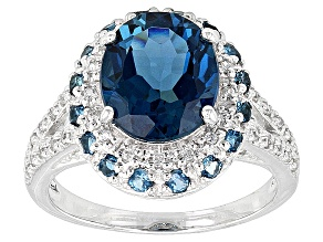 London Blue Topaz 10k White Gold Ring 4.53ctw