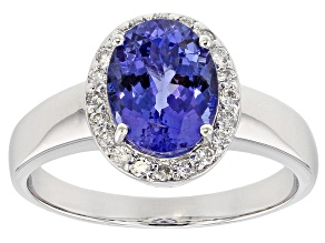 Blue Tanzanite  Rhodium Over 18k White Gold Ring 2.20ctw