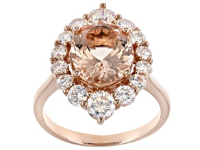 Pink Morganite 10k Rose Gold Ring 4.40ctw