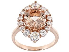 Pink Morganite 10k Rose Gold Ring 4.40ctw