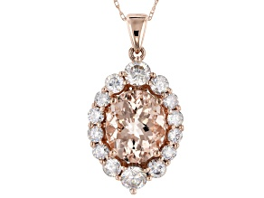 Pink Morganite 10k Rose Gold Pendant with Chain 4.39ctw