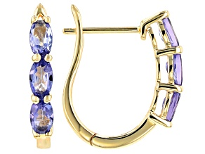 Blue Tanzanite 10k Yellow Gold Hoop Earrings 1.12ctw.