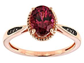 Pink blush color garnet 18k gold over silver ring 1.52ctw
