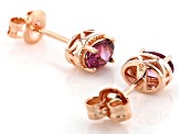 Pink blush color garnet 18k gold over silver earrings 1.02ctw