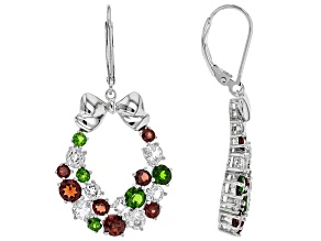 Red Garnet Rhodium Over Silver Christmas Earrings 5.59ctw