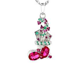 Red lab ruby rhodium over sterling silver pendant chain 1.71ctw