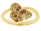 Multi color 18k yellow gold over sterling silver ring .32ctw