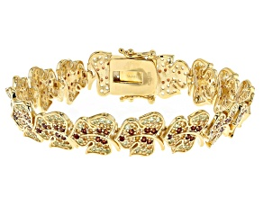 Multi color 18k yellow gold over silver bracelet 5.16ctw.