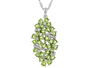 Green Peridot Rhodium Over Sterling Silver Pendant with Chain 4.47ctw
