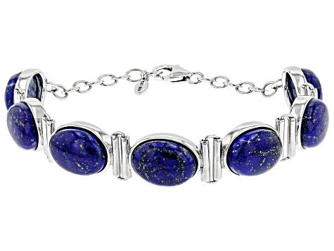 Blue lapis lazuli rhodium over sterling silver bracelet