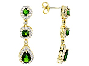 Green chrome diopside 18k yellow gold over silver dangle earrings 2.77ctw
